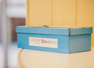 Small metal box for donations