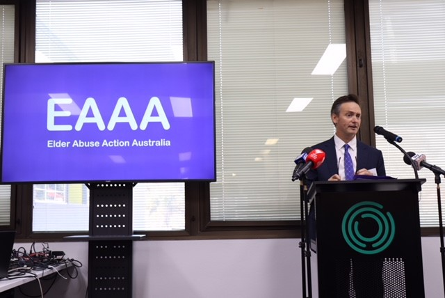 Caxton director, Scott McDougall addresses the launch of Elder Abuse Action Australia